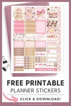 Super cute FREE printable pink planner stickers kit! Pink Planner, Mini Happy Planner, Free Planner, Printable Planner Stickers, Printables, Planner Decorating, Silhouette Files, Erin Condren, Chocolates