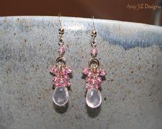Rose Quartz an Pink Topaz Cluster 14k Gold FiIlled Earrings