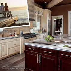 """""""To this day, a pale golden sunset reminds me of my carefree days out on the lake and my old truck."""" Today's story features our Painted Hazelnut Glaze finish. Color Stories, Painting Cabinets, Cabinet Doors, Glaze, Paint Colors, Living Spaces, Truck, Sunset, Kitchen"""
