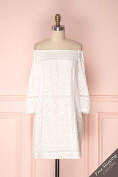 Beverlyne #boutique1861 #dress #casual #offshoulder #lace #bohemian #summer #summerdress #shortdress #tunic #cutouts #buttons #whitedress