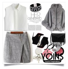"""""""Yoins:Gray wrap skirt with asymmetric zip"""" by mica-03 ❤ liked on Polyvore featuring Sephora Collection, Alexander Wang, Harrods, Christian Louboutin, Chicwish, women's clothing, women, female, woman and misses"""
