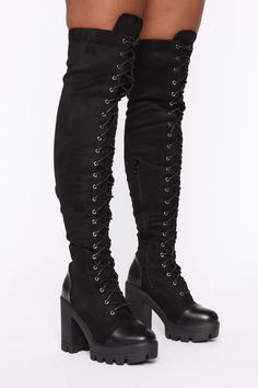 Available In Inch Block HeelLace UpSide Zipper DetailImported Cute Emo Outfits, Scene Outfits, Edgy Outfits, Swag Outfits, Pink Boots, Fur Boots, Lace Up Boots, Black Boots, Combat Boots