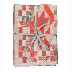 Orange and Grey Geometric Baby Blanket by Sarah Elwick | Luna & Curious