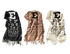 ss17 Eye Chart scarf. Linen weave pashmina silkscreen by Cyberoptix