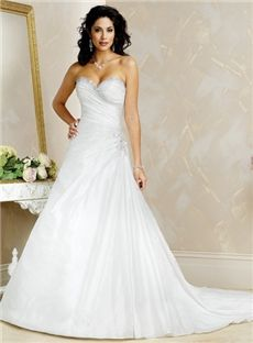 Matte Satin White Strapless unusual Wedding Dresses Chapel Train