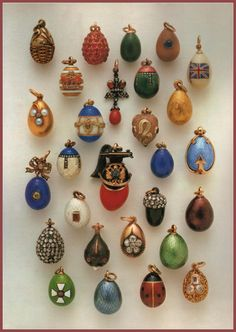 Collection of 28 Faberge Miniature Eggs