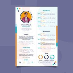 Modern curriculum vitae template Free Ve... | Free Vector #Freepik #freevector #business #template #office #resume Cv Design, Resume Design, Free Design, Graphic Design, Modern Design, Curriculum Vitae Template Free, Cv Online, Professional Cv, Cv Resume Template