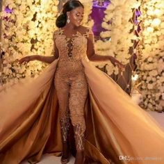 2020 African Classic Jumpsuits Long Sleeves Prom Dresses With Detachable Train Lace Appliqued Evening Gowns Luxury Party Women Pant Dress - Source by fidellenseya - Jumpsuit Prom Dress, Jumpsuit With Train, Prom Dress With Train, Wedding Jumpsuit, Prom Dresses Long With Sleeves, Cheap Prom Dresses, The Dress, Wedding Dresses, Sparkly Jumpsuit