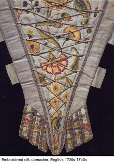 1730s silk stomacher with embroidery and cord