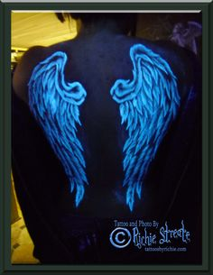 UV Blacklight Wings Tattoo