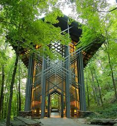 Thorncrown Chapel, Eureka Springs, AR.  Scott and I went here for our 1 year wedding anniversary to tour around & this was BY FAR my favorite spot - So peaceful!!