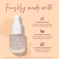 Are you ready to resurface your way to refreshed and glowing skin? With its powerful blend of papaya enzymes and AHA fruit complexes, this restorative overnight serum resurfaces the top layer of skin and refines pores to reveal a brighter, more youthful-looking complexion by morning #fruitpeel #skinpeel #newskin #youngerskin #youthfulskin #exfoliate #exfoliation #smoothskin #antiaging #antiagingskincare #smellssogood #bestserum #facepeel #facetreatment Feeds Instagram, Cosmetic Design, Cosmetic Packaging, Book Layout, Email Design, Graphic Design Posters, Beauty Care, Skin Care, Cosmetics