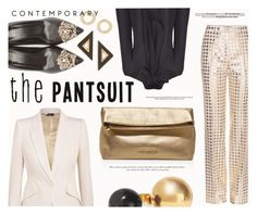 """""""The Pantsuit"""" by katarina-blagojevic ❤ liked on Polyvore featuring Bottega Veneta, Alexander McQueen, Versace, MICHAEL Michael Kors, Topshop, Marni and thepantsuit"""