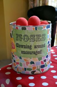 This was posted as a clown party item, but since some of my family are clown-wary, I'm thinking it would be cute for Christmas and Rudolph's nose. Circus Party Decorations, Circus Carnival Party, Circus Theme Party, Carnival Birthday Parties, Circus Birthday, Birthday Fun, First Birthday Parties, Birthday Party Themes, First Birthdays