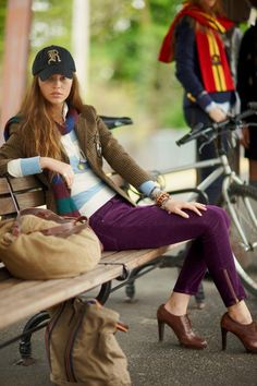Cords, tweed and rugby shirts. ♥ Tags: barefoot style, blazer, cap, elegance, footwear, girl, high school, ivy league