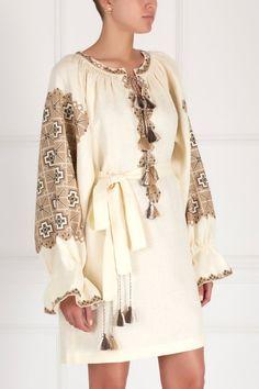 Туника из льна Vita Kin - Эффектная туника бежевого цвета с утрированно-широкими рукавами из коллекции бренда Vita Kin в интернет-магазине модной дизайнерской и брендовой одежды