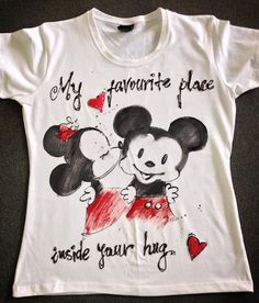 Hand painted Tshirt with Mickey Mouse. Cartoon by palettePandora