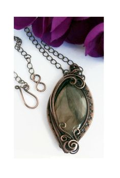 Wire Wrapped Pendant, Labradorite Necklace, REVERSIBLE, Antiqued Copper, Handmade, Wire Jewelry