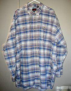 BIG-TALL-Roper-Long-Sleeve-Button-Front-Shirt-BLUE-Plaid-100-Cotton-4XL-XXXL
