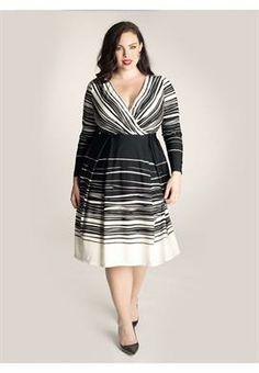 Plus Size Cadence Dress in Black/Ivory image