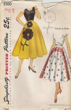 1950s skirt pattern - Simplicity 3560 - misses circular skirt pattern