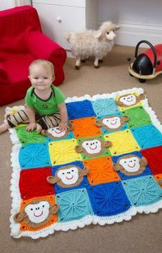 Monkey Around Baby Blanket Free Crochet Pattern from Red Heart Yarns