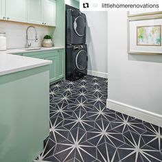 And this is how you get laundry done! ⠀⠀ Mint green cabinets, new appliances and our Trident Black cement tile on the floor. Patterned Floor Tiles, Patterned Bathroom Tiles, Green Cabinets, Laundry Room Remodel, Green Tile Floor, Cement Tile, Flooring, Entryway Flooring, Geometric Tiles