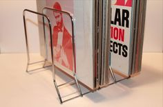 Vintage LP Vinyl Record Metal Storage Rack Bin Stand Crate 1960s Silver, Holds 60 Records.: