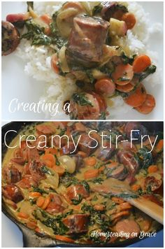 A twist on the typical stir-fry, this recipe includes spinach, carrots, onions, smoked sausage, and cream cheese.