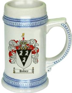 Halsey Coat of Arms / Family Crest stein mug |  $21.99 at www.4crests.com - This stein starts with the family coat of arms hand drawn digitally. We then use a high quality 22 oz. ceramic stein to apply the coat of arms to via sublimation.