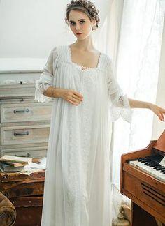 a4e4621eb Healthy Home Dress Nightgown Women Plus Size Long White Cotton Sleepwear  Flare Sleeve Casual Night Dress Sleep Shirt Lady T39