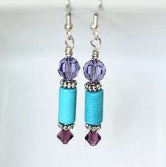 Turquoise and Crystal Earrings Blue and Purple Beaded by ScoSiCa, $16.50