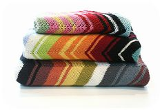 Missoni Inspired Chevron Blankets by Kelly Kingston.  Pattern available as a download from the Ravelry Website.  Knitted in a DK weight yarn.