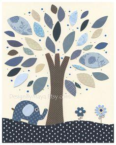 Niño, pared Nursery Decor, impresión del arte de los niños, Harper, bebé elefante, azul y blanco, coincidencia con la ropa de cama de colores Harper, deco de habitación de bebé