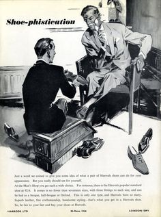 This very 'Shoe-phisticated' advert is from 1959 - our new Men's Shoe Salon offers an even more extensive range.