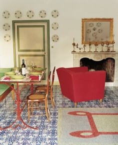 Domino Magazine - red and green accents