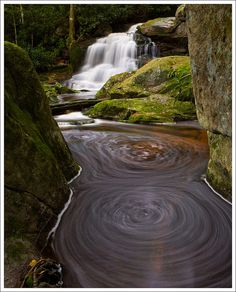 Beautiful waterfall shot.  Blackwater Falls State Park. Davis, West Virginia