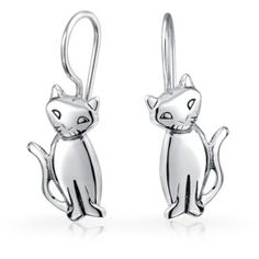 Bling Jewelry 925 Sterling Silver Siamese Cat Ear Wire Dangle Earrings | Bluefly.Com