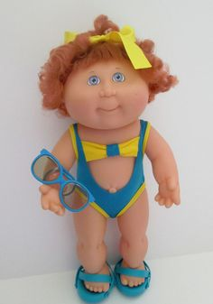 Hasbro 1991 Cabbage Patch Splash N Tan Girl Doll Swimsuit Sandals Sunglasses Red Curly Hair #DollswithClothingAccessories