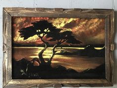 Vintage Black Velvet Painting of a Tree on the Shoreline