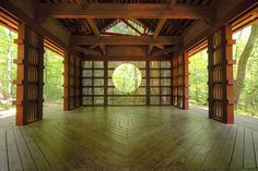 I could do my Shoji wall this way and inset a round mirror.  This is Japanese Tea House on Monte Sano, USA