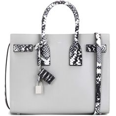Saint Laurent Sac De Jour Small Leather Tote (€2.435) ❤ liked on Polyvore featuring bags, handbags, tote bags, ysl, grey, gray leather purse, grey tote, gray leather tote, handbags totes and leather purse