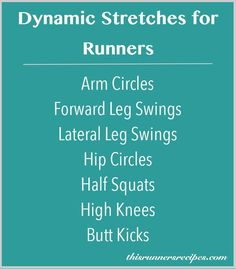 Dynamic Stretches for Runners + Pre-Run Warm Up Routine (Dynamic Stretching Healthy) Pre Run Stretches, Warm Up Stretches, Stretches For Runners, Dynamic Stretching For Runners, Running Workouts, Running Tips, Band Workouts, Track Workout, Running Training