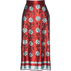 Paillette Embellished Skirt | Moda Operandi ($1,550) ❤ liked on Polyvore featuring skirts, knee length a line skirt, embellished skirts, red a line skirt, knee high skirts and a-line skirt
