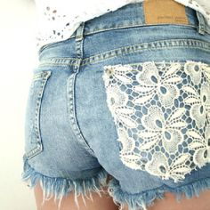 Lace and denim - my butt is too big for this but nice idea for pocket on dress