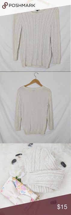 "H&M Cable Knit Sweater AA306 H&M Cable Knit Sweater Condition: Excellent, no holes or stains. All items come from a smoke free and pet free home.  Pit to Pit: 15""  Sleeve: 22""  Pit to Bottom: 16""  Size: Small  I want to get rid of these items so please feel free to send me an offer. I will always counter or accept any and all offers, including lowball offers. Also comment if you would like me to add you to my taglist stay updated with new arrivals! Happy Poshing.  Inventory Number…"