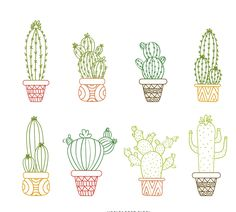 Cactus outline drawing set featuring multiple types of hand drawn cacti with pots in bright colors. Perfect for tshirts, kids books, wallpapers, wall art, backd art garden indoor plants Cactus Drawing, Cactus Art, Drawing S, Cactus Doodle, Cactus Decor, Cactus Flower, Outline Drawings, Easy Drawings, Cactus Outline