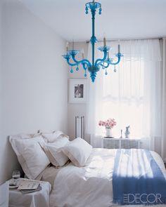 blue chandelier bedroom
