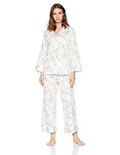 457e7f4c93c53 Natori Branche Pj Set Cotton Sateen Pajamas Medium Pjs Warm White Nwt New