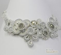 Soutache for Bridal - silver and white necklace ! Made in Italy
